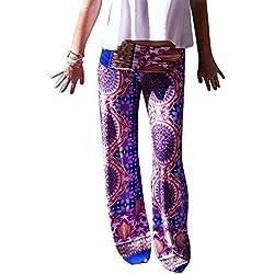 Moollyfox Mujer Púrpura Impresión Pierna Ancha Estilo Étnico Modelada Floral Pantalón De Pierna Ancha Stretch Pantalones Palazzo Como Imagen L Como Imagen