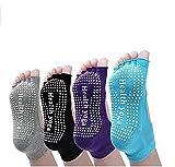 Pormow Yoga Socken,Pilates, Kampfsport, Gym, Tanz, Stange. Rutschschutz/Rutschfest, Prävention Abstürze ,4 Paare (Schwarz, grau, violett, blau)