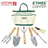 GardenHOME Garden Tool Set, Stainless Steel, Includes 6 Lightweight tools with Wood Handles and Garden Tote