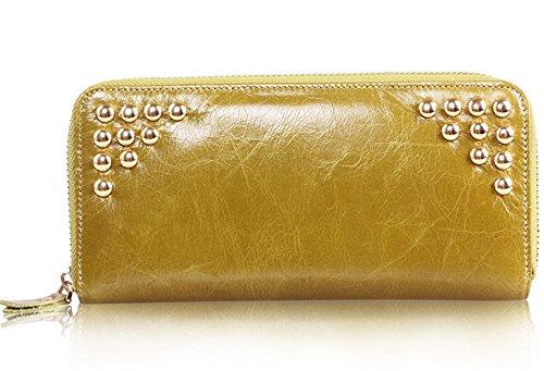Xinmaoyuan Portafogli donna Donna gambe lunghe rivetti Purse Wallet avvolti a mano di cera olio portafoglio in pelle una piega borsa a mano,rosso Giallo