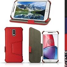 igadgitz Rojo PU Cuero Funda Folio Carcasa para Motorola Moto G 4ª Generación XT1622 (Moto G4) & Moto G4 Plus XT1644 Piel Case Cover con Soporte + Protector Pantalla