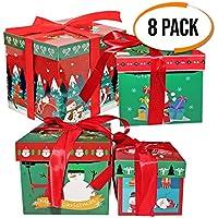 The Twiddlers 8 Cajas 4 Diseños Atractivos - 2 Tipos de Tamaño Diferentes - Perfectos para Regalos De Arbol Navidad - Ideal en Fiestas Decoracion Navideñas