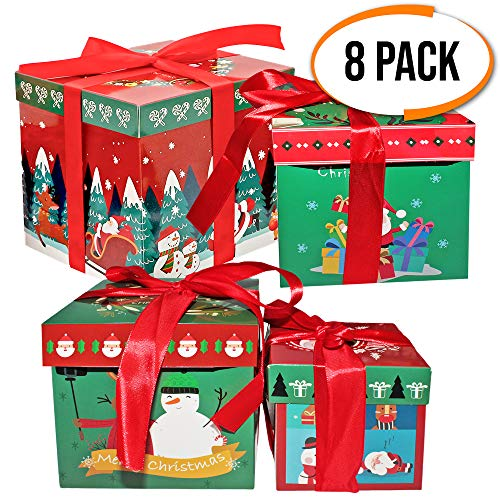 8 Christmas Themed Gift Boxes - 4 Attractive Box Designs & Sizes - 2 of Each Size - Large 18.6 cm - Medium 15.6 cm - Small 13.6 cm and X-Small - 10.6 cm - Perfect for Xmas Presents and Surprise
