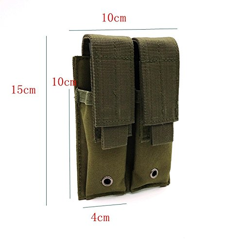 HWZ Tactical Hunting Pistol Magazine Pouch EDC Bag Camouflage MOLLE Magazine Cartridge Clip Bullet Tool Belt Pouch (Green) -