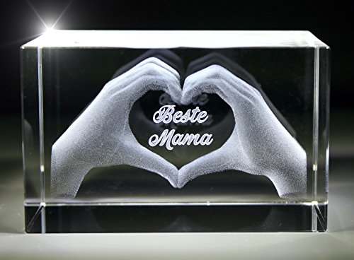 VIP-LASER 3D Glas Kristall mit Gravur I Herz aus zwei Händen I Text: Beste Mama! I Das tolle Geschenk zum Muttertag…