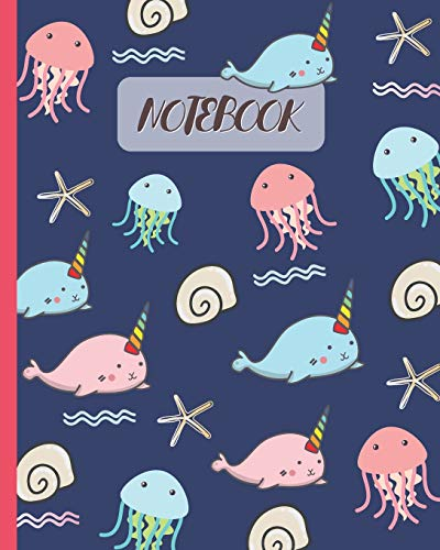 Notebook: Cute Narwhal & Jellyfish Cartoon Cover - Lined Notebook, Diary, Track, Log & Journal - Cute Gift for Kids, Teens, Men, Women (8