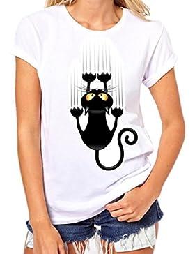 Ansenesna Mujeres Niñas Plus Size Impresión Camisetas Manga Corta Algodón Camiseta Blusa Tops