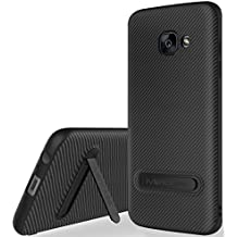"Funda Galaxy A5 2017 Negro , ivencase Anti-Arañazos Suave TPU Carcasa Metal Stand [Fibra de Carbono] Silicona Funda para Samsung Galaxy A5 2017 5.2"""