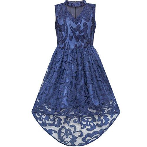 Mädchen Kleid Marine Blau Schnüren Halfter Hallo-Low Kleiden Tanzen Gr. 146