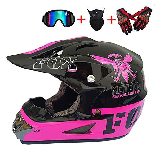 CAKG Motorradhelm, Offroadhelm, DOT-Sicherheitszertifikat, Handschuhmaskenbrille, Mountainbike-Integralhelm mit Sonnenblende,V-S