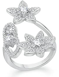 VK Jewels Delight Flower Rhodium Plated Alloy CZ American Diamond Adjustable Ring For Women [VKFR2725R]