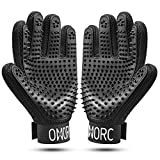 OMORC A Pair of Pet Grooming Glove, Fur Remover and Relaxing Massage for Dog, Cat, Rabbit, Horse, Breathable and Skin-friendly, Imitation-hand Design, Adjustable Wrist, Multifunctional Glove