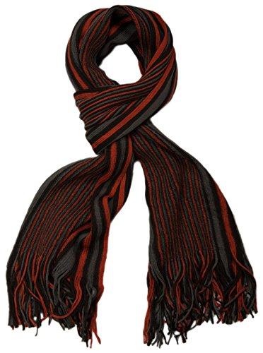 ick Herrenschal im Streifen Look / Strickschal mit Fransen 01018117- Gr.One Size, Orange (V2) (Orange Schal Für Männer)