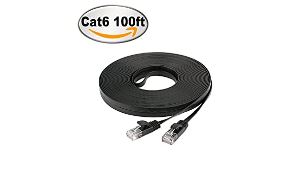 NCElec Weatherproof Flat Cat 6 100Ft, Black Up to 1.0 Gbps and 250 MHz 32AWG RJ45 Connector Cat6 Ethernet Cable