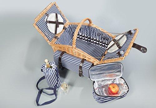 Home & Style Picknickkorb, Sylt, blau, 30 x 30 x 18 cm, 123253C