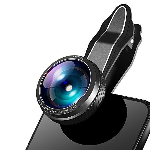 TYCKA Lente ultra-angular para la cámara del teléfono móvil, lente ojo de pez de 0.33X acoplable, ángulo de visión de 178º; para iPhone, Samsung Galaxy, iPads, tablets y otros teléfonos, con pinza uni