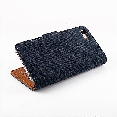 Jeans Motiv - Apple iPhone 5 / 5s - Premium Ledertasche Schutzhülle Wallet Case aus Echtesleder mit Kreditkarten / Notizen Fachern und Jeans Motiv (Blau) von Surazo® Jeans Leather Kollektion für iPhon Dark Blue