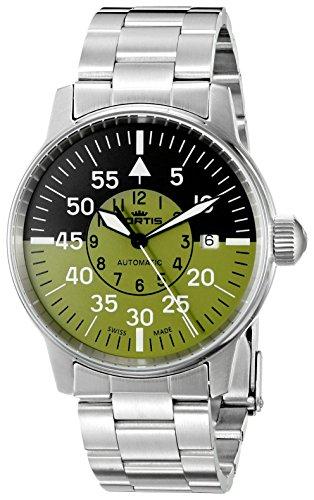 Fortis 595.11.16del hombre m Flieger Cockpit oliva analógico automático para hombre plateado reloj