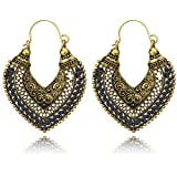 Yellow Chimes Oxidized Indian Traditional Fancy Earrings Chandbali for Women and Girls