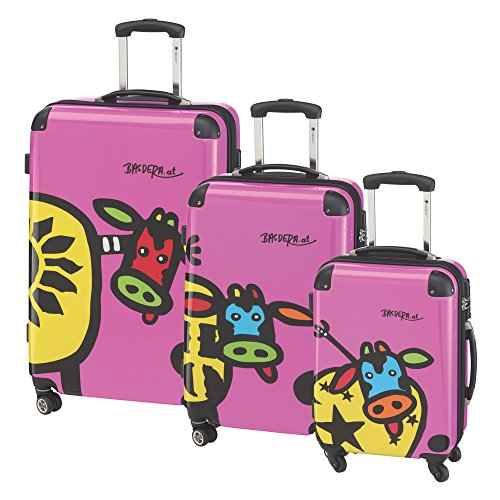 CHECK.IN 3-tlg. Trolley-Set 'KUHliane & Familie', check-in/boarding size: 77/67/55cm, pink