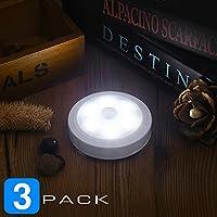 Luces LED de Noche de Pilas para Pared,Armario,Pasillo,Cocina,Escalera, Pega en Cualquier Lugar Fácil, con Hoja de Imán para Atraer las Luces, Sensor de Movimiento, Fácil y Práctica (Blanco, 3 Pack)