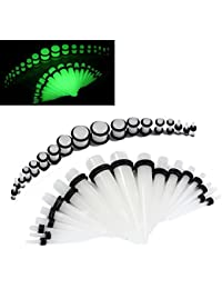 EG GIFTS Glow In The Dark Ear Stretching Kit Verjüngungen und Tunnel Ohr Expander 14G-00G 36pc