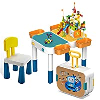 Oztev Kids Play Table, Kids Suitcase Building Table Learning, Table Portable Storage Toy Table For Kids, Portable Storage Play Multi-purpose Activity Table for Kids