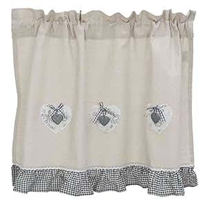 rideau brise bise lin volant vichy noir et blanc amazon. Black Bedroom Furniture Sets. Home Design Ideas