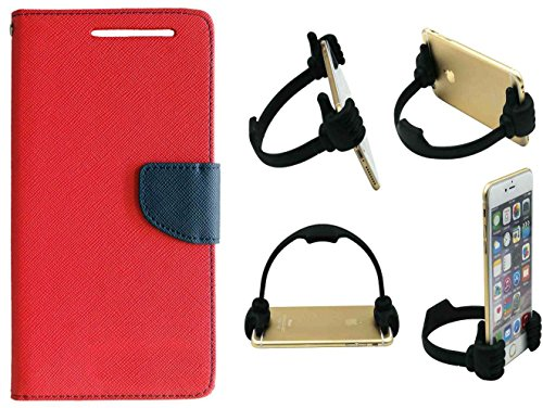 Novo Style Luxury Magnetic Lock Diary Wallet Style Flip Cover For Lenovo A6000/Lenovo A6000 Plus Red + Ok Stand For Smartphones And Tablets