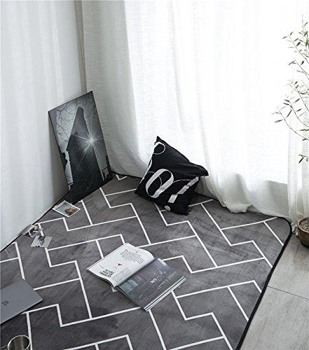 WXDD Nordic Schwarze und weiße Streifen modern Moderne Fußmatte Wohnzimmer Tisch Sofa Teppich Schlafzimmer Bett rechteckig Kissen, 50 * 80 cm, grau einfach z-Asche - Asche-wohnzimmer-sofa-tisch