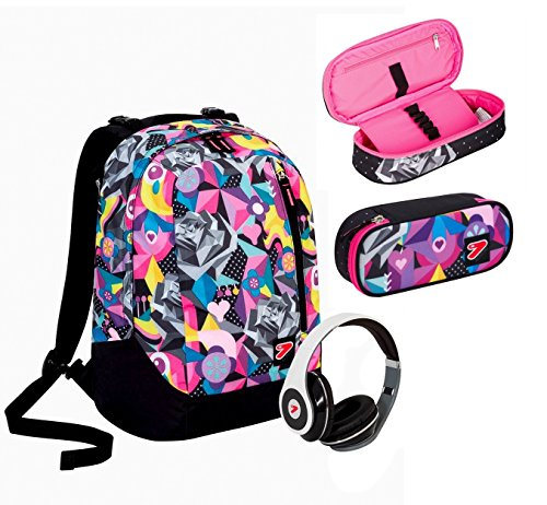 Zaino seven the double new - black rose - multicolore - con cuffie stereo + astuccio ovale con grafica abbinata ! 2 zaini in 1 reversibile
