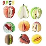 Valentoria 9pcs Mixte Fantaisie 3D Fruits Memo Bloc-Notes Cadeau Insolite Bureau Note Papier Décoration de la Maison et Le Bureau, 9pcs, Taille M