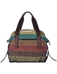 Zibuyu Casual Patchwork Canvas Handbag Stripe Shoulder Bags Shopping Bags