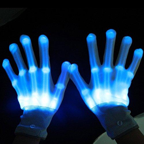 WINOMO LED-Beleuchtung blinkt Finger begeisterte bunte Handschuhe für Licht-Show 1 Pair(Blue) Handschuhe (Rote Kostüme Handschuhe)
