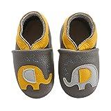 koshine Chausson Cuir Souple Bébé Chaussures Enfant Dessin Animé Fille Garçon 0-24 Mois (0-6 Mois, Éléphant)