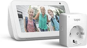 Echo Show 5 - Bianco +Tapo P100 Presa intelligente Wi-Fi, compatibile con Alexa