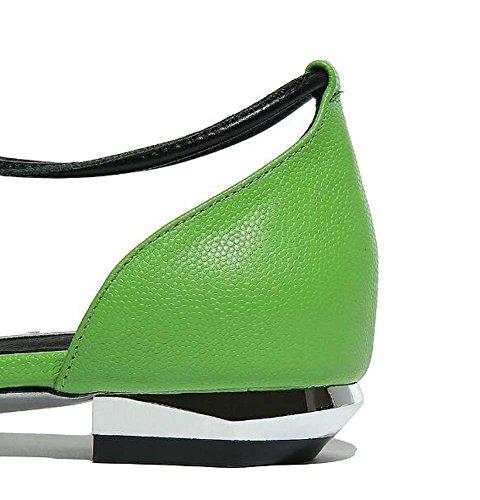 Onfly Frau Süß Mode Macaron Schuhe Leder X-Strap Hohl Sandalen Pumps Flache Schuhe Green