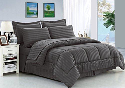 Eleganten Komfort knitterfrei–seidig weich Dobby Stripe bed-in-a-bag 8-teilig Tröster Set–-hypoallergenic–King grau (Queen-bett In Einem Beutel)