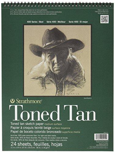 Strathmore 400Series Toned Tan Sketch Pad, 27,9x 35,6cm Draht Bound, 24Blatt