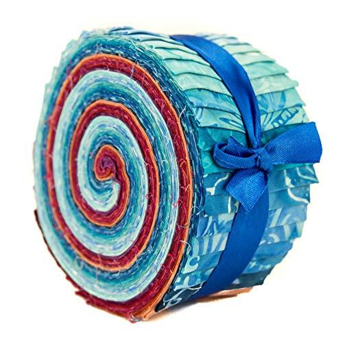 LoudElephant Baumwollbatik-Stoffbündel - Jelly Roll Blues & Reds (Quilten Stoff Jelly Rolls)