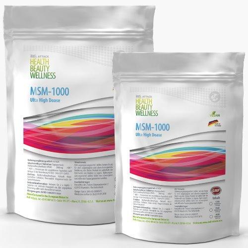 MSM (1000 Tabletten a 1000mg Vegan) Ultra Hochdosiert | Big Pack XXL | Methylsulfonylmethan 99,9% Rein | Pharmaqualität hergestellt in Deutschand | Preishammer + Sparpack