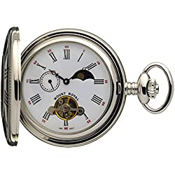 Mount Royal Chrome Half Hunter Pocket Watch, Sun/Moon Phase, 24 Hour Dial LWF-B31C