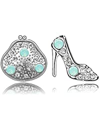 Silver Crystal Diamond Accent High-heeled Shoes Bag Earrings Made with Swarovski Crystal, with a Gift Box, Green, Model: X13400