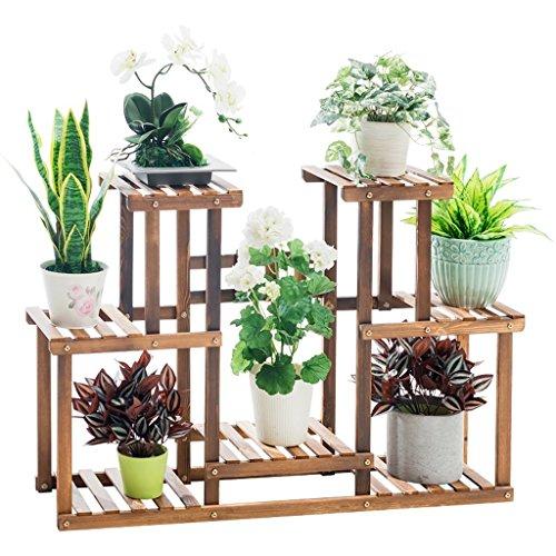 YXP Holzpflanze Stehen Indoor Outdoor 3 Tier Vertikale Carbonized Mehrere Pflanzer Halter Blume Leiter Treppe Regal Garten Balkon Terrasse Ecke Topf Display (Ecke Outdoor-pflanzer)