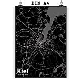 Mr. & Mrs. Panda Poster DIN A4 Stadt Kiel Stadt Black - Stadt Dorf Karte Landkarte Map Stadtplan Poster, Wandposter, Bild, Wanddeko, Wand, Motiv, Spruch, Spruch des Tages, Kinderzimmer, Einrichtung, Wohnzimmer, Deko, DIN, A4, Fan, Fanartikel, Souvenir, Andenken, Fanclub, Stadt, Mitbringsel