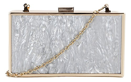 Kukubird Marble Texture Telaio Metallico Prom Partito Pochette Portafoglio Portamonete Grey