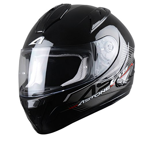 Astone Helmets, Casco integral, color Negro Brillante, talla L