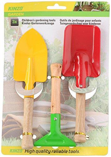 3 tlg. Gartenset – Schaufel – Rechen – Spaten – aus Holz und Metall – für Kinder und Erwachsene – Gartengeräte , Sandkastenspielzeug, Gartenwerkzeug – stabile Gartengerät
