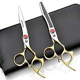 ACZZ Ensemble de ciseaux de coiffure dorés, cisailles plates de 6,5 pouces, acier inoxydable 440C, convient aux salons de coiffure et aux familles