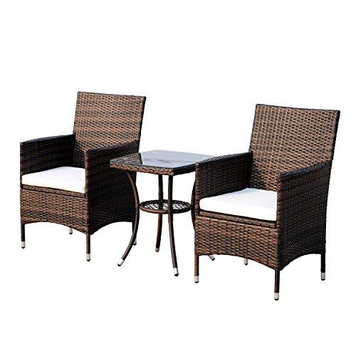 Outsunny Conjunto de 1 Mesa y 2 sillas para Terraza y Jardín...